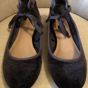 Torrid Ankle Tie Grey Velvet Ballet Flats Size 7.5
